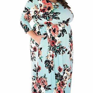 Dresses & Skirts - Mint and floral maxi dress 3x/4x